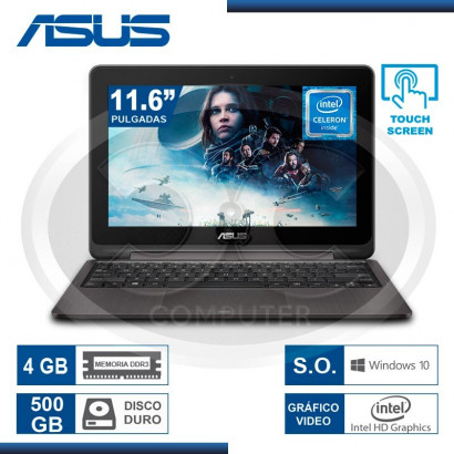 """NOTEBOOK ASUS TP201SA-FV0010T INTEL CEL N3060, 4GB, 500GB, 11.6"""" TOUCH, WIN 10"""