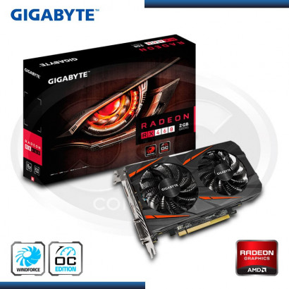 VIDEO PCI-EXP. RADEON GIGABYTE RX460 WINDFORCE OC, 2GB GDDR5 128-BIT, HDMI/DP/DVI (N/P GV-RX460WF2OC-2GD)