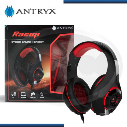 AUDIFONO C/ MICROFONO GAMER ANTRY RASOP  BLACK/RED USB (PN: AGH-3000RM)