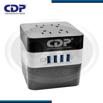 ESTABILIZADOR CDP 600VA/720W BLANCO/NEGRO 4 SALIDAS,USB (PN:RU-AVR604I)