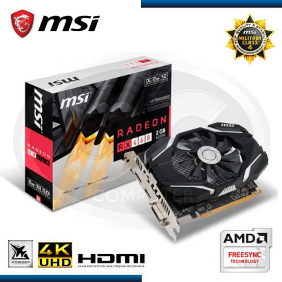 VIDEO PCI-EXP. MSI RADEON RX460  OC, 2GB GDDR5 128-BIT, HDMI/DVI-D/DP (PN:RX RADEON 460 2GB OC)