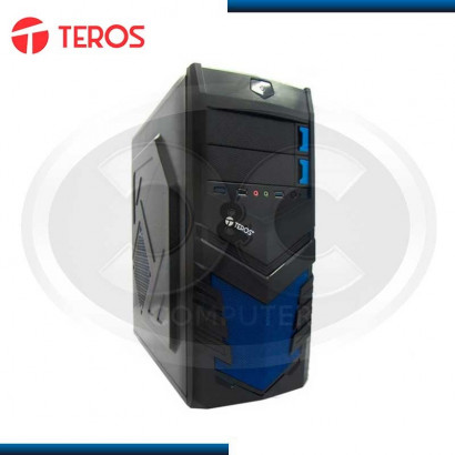 CASE TEROS TE-X2005BB, MID TOWER, ATX 300W, SATA, USB 2.0/ USB 3.0, AUDIO HD, NEGRO/AZUL.