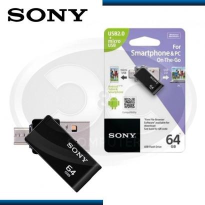 MEMORIA USB 64GB SONY MICRO VAULT OTG USB 2.0 + MICRO USB BLACK (PN:USM64SA2/B)