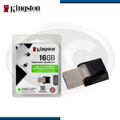 MEMORIA USB 3.0 16GB KINGSTON DATA TRAVELER MICRO DUO, OTG SILVER / BLACK (PN: DTDUO3/16GB)