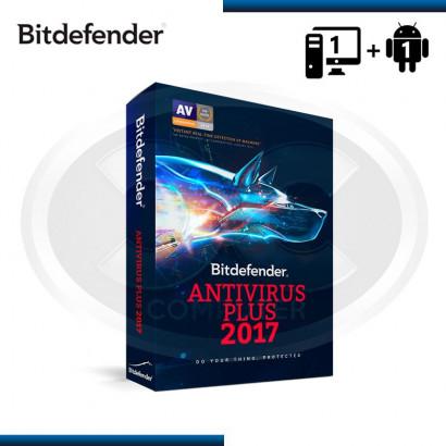 BITDEFENDER ANTIVIRUS PLUS 2017 1PC 15 MESES + 1 ANDROID