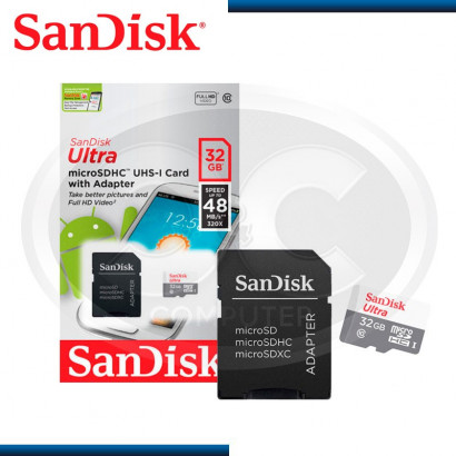 MEMORIA  MICRO SD SANDISK ULTRA 32GB / 48MBPS (PN:SDSQUNB-032G-GN3MA)
