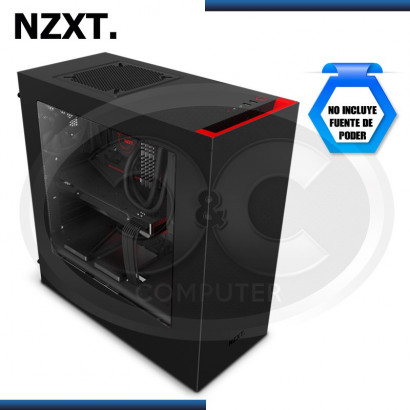 CASE NZXT S340  BLACK/RED USB 3.0, SIN FUENTE, MID TOWER (PN:CA-S340MB-GR)
