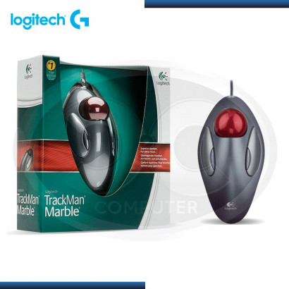 MOUSE LOGITECH MARBLE TRACKMAN USB, SILVER/RED