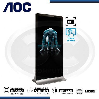 TOTEM PUBLICITARIO AOC 55P32 TOUCH 1920x1080, 1400:1, VGA, HDMI
