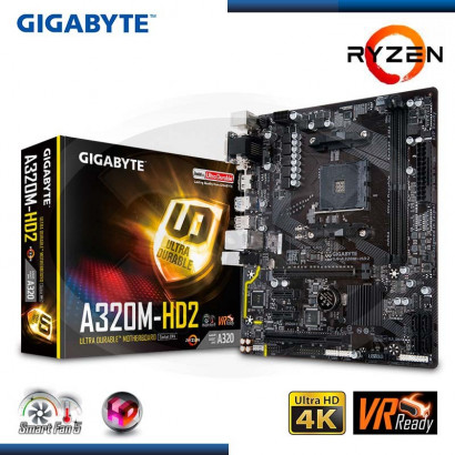 MB GIGABYTE GA-AB320M-HD2 C/ VIDEO-SONIDO- RED- USB 3.1, DDR4, AM4