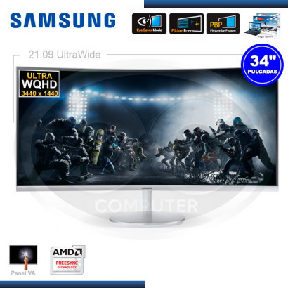 "MONITOR SAMSUNG LC34F791WQLXPE, 34"" LED CURVO, 3440X1440, HDMI / DISPLAYPORT / AUDIO / USB"