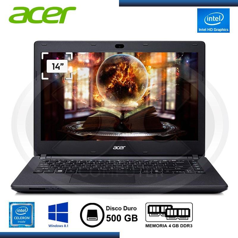 """NOTEBOOK ACER ASPIRE E14 ES1-411-COFO CELERON N2840 /4GB /500 GB /14"""" /W8.1 /DVD (PN:NX.MRUAL.01) (G.LA MARCA)"""