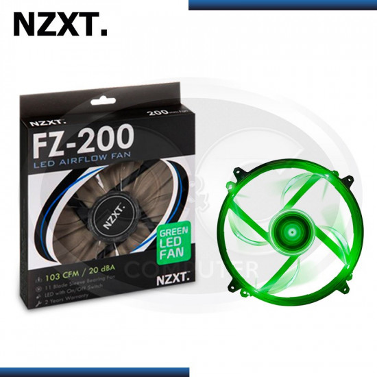 COOLER DE CASE NZXT FZ-200MM GREEN LED 200 X 200 X 30MM (PN:RF-FZ20S-G1)