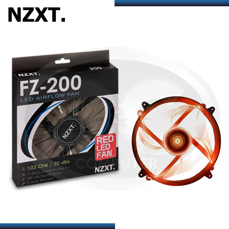 NZXT FZ-200 AIRFLOW RED LED 200MM COOLER PARA CASE (PN:RF-FZ20S-R1)