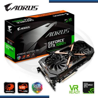 VIDEO PCI EXP. GIGABYTE AORUS GEFORCE GTX 1080 TI XTREME EDITION 11G GDDR5X, 352 BITS, RGB  (PN:GV-N108TAORUS X-11GD)
