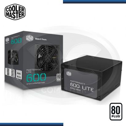 FUENTE COOLER MASTER MASTERWATT LITE 600W 80 PLUS, V.2.31 (PN:MPX-6001-ACAAW)