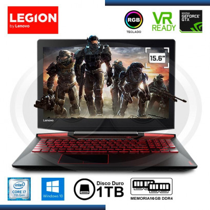 "Notebook Lenovo Legion Y720-15IKB 15.6"" FHD, Intel Core i7-7700HQ 2.80GHz, 16GB DDR4, 1TB SATA.Lector de Blu-ray externo, video"