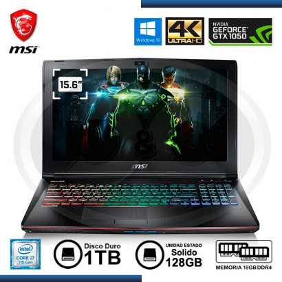 "NOTEBOOK MSI GE62 7RD APACHE INTEL CI7- 7700HQ 2.8GHZ, 16GB, 1TB,SSD128GB, 15.6"" FHD, NIVIDIA 1050 4GB DDR5, WIN 10, TECLADO"