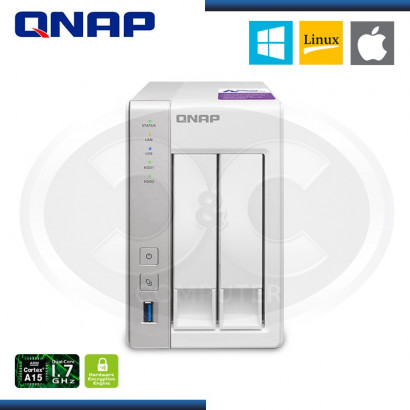 ALMACENAMIENTO CLOUD NAS QNAP TS-231P 2-BAY DAY PERSONAL, eSATA, USB 3.0 PORT X2