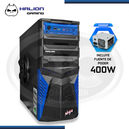 CASE HALION GAMER NINJA AZUL 400W REAL USB 3.0, COOLER 12CM LED AZUL.
