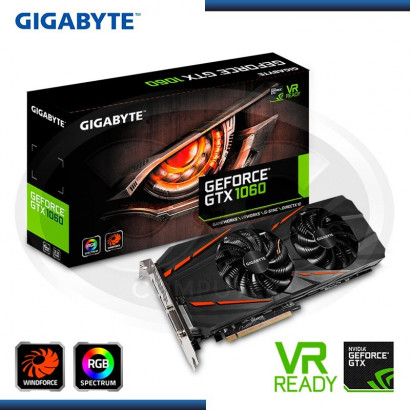 VIDEO PCI EXP.GIGABYTE GEFORCE GTX 1060 GAMING RGB WINDFORCE 6GB GDDR5, 192BIT, RGB (PN:GV-N1060D5-6GD)