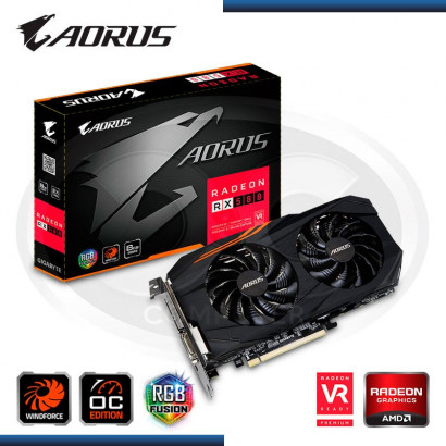 VIDEO PCI-EXP. RADEON GIGABYTE AORUS RX 580 WINDFORCE OC, 8GB GDDR5 RGB  256-BIT, HDMI/DP*3/DVI-D (PN: GV-RX580 AORUS-8GD)