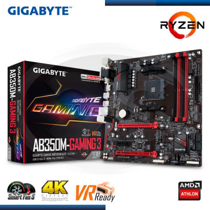 MB GIGABYTE GA-AB350M-GAMING 3 C/ VIDEO-SONIDO- RED- USB 3.1,  HDMI,DVI, D-SUB DDR4,SOCKET AM4