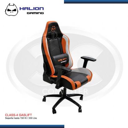 SILLA GAMER HALION  HA-S22  NEGRO/NARANJA/BLANCO