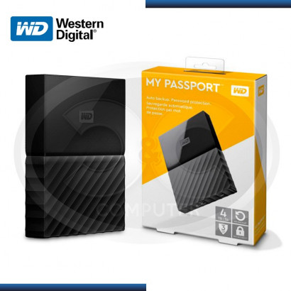 "DISCO DURO WESTERN DIGITAL EXTERNO 4TB MY PASSPORT 2.5"" BLACK USB 3.0 (PN:WDBT0040BB-0A)"