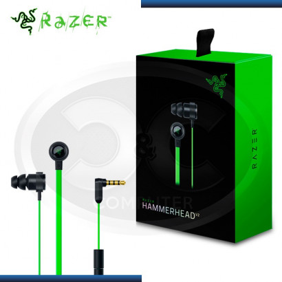 AUDIFONO C/ MICROFONO RAZER HAMMERHEAD V2 BLACK/GREEN GAMING (PN: RZ12-01730100-R3U1)