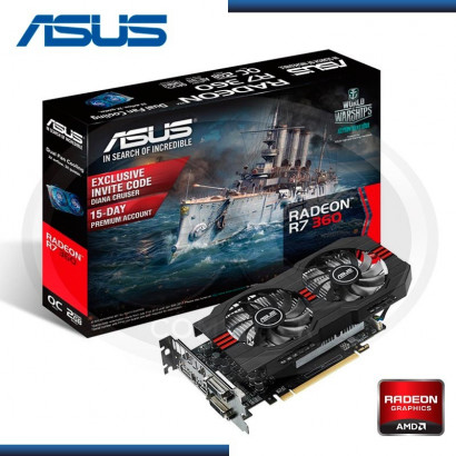 VIDEO PCI EXP. GEFORCE ASUS R7 360 2GB GDDR5 128BIT (R7360-OC-2GD5-V2) (N/P 90YV08E4-M0NA00)