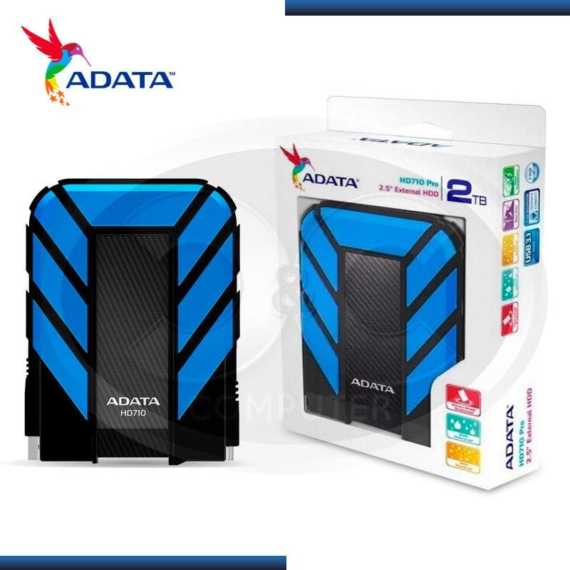DISCO DURO EXTERNO 2TB ADATA HD710 PRO AZUL- NEGRO USB 3.1 (PN:AHD710P-2TU31-CBL)