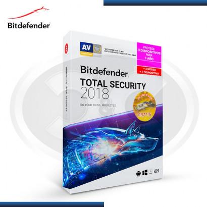 BITDEFENDER TOTAL SECURITY MULTI DEVICE 2018 3 + 2 DISPOSITIVOS + 15 MESES + USB 16GB