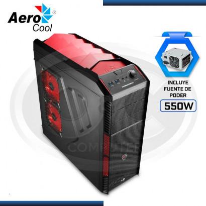 CASE AEROCOOL PREDATOR  X1 RED C/ FUENTE 550W REAL