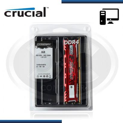 MEMORIA 8GB CRUCIAL BALLISTIX  SPORT LT RED DDR4 2400 MHZ /1.2V, C/DISIPADOR (PN:BLS8G4D240FSE)