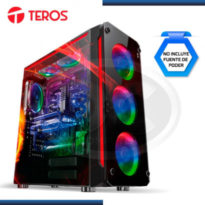 CASE TEROS GAMER CAMALEON RGB BLACK USB 2.0 (2)  USB 3.0 (2) SIN FUENTE