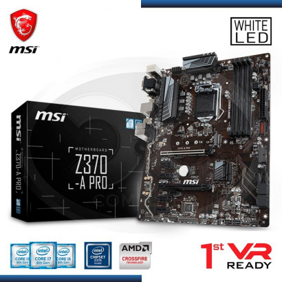MB MSI Z370-A PRO VIDEO-SONIDO-RED DDR4, 2*PCI-E, DP, DVI, VGA,USB 3.1  LGA 1151