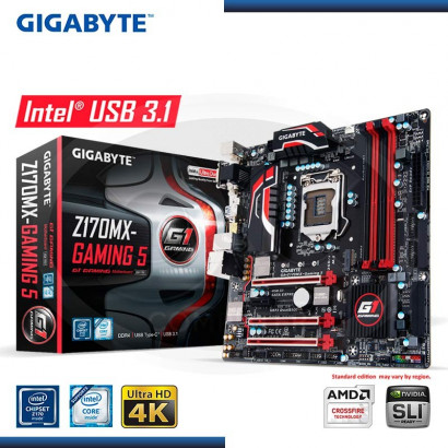 MB GIGABYTE GA-Z170MX - GAMING 5 C/ VIDEO-SONIDO-RED DDR4 LGA1151