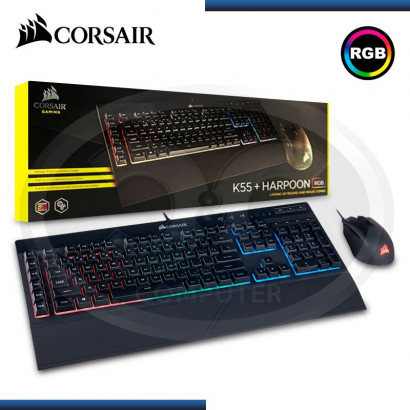 KIT CORSAIR TECLADO K55 RGB + MOUSE  HARPOON  RGB GAMING