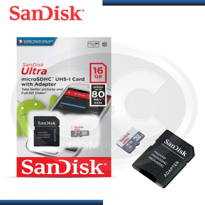 MEMORIA MICRO SD HC SANDISK ULTRA 16GB/ 80 MBPS (PN:SDSQUNS-016G-GN3MA)