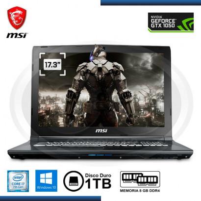 """NOTEBOOK MSI GL72M-7RDX CI7- 7700HQ 2.8GHZ, 8GB, DDR4 , 1TB SATA ,17.3"""" FHD, NIVIDIA GTX 1050, 4GB DDR5, WIN 10, 64-BITS"""