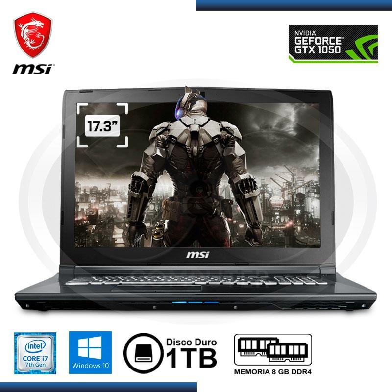 """NOTEBOOK MSI GL72-7RDX CI7- 7700HQ 2.8GHZ, 8GB, DDR4 , 1TB SATA ,17.3"""" FHD, NIVIDIA GTX 1050 TI, 4GB DDR5, WIN 10, 64-BITS TECLA"""