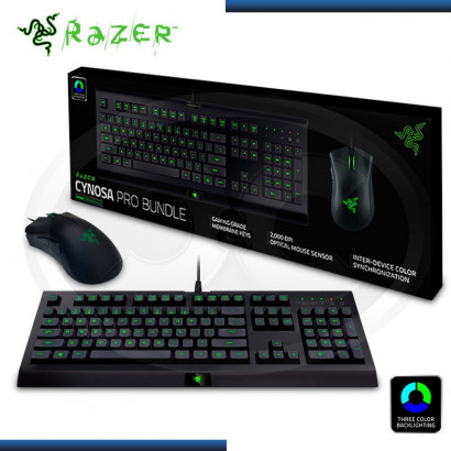 KIT RAZER TECLADO + MOUSE CYNOSA PRO BUNDLE 3 COLORES LED 2000 DPI USB