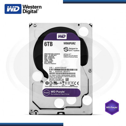 DISCO DURO WESTERN DIGITAL PURPURA 6TB SATA 6GB/s 64MB 24X7 (PN:WD60PURZ)