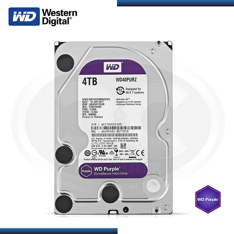 DISCO DURO WESTERN DIGITAL PURPURA 4TB SATA 6GB/s 64MB 24X7 MOD:WD40PURZ