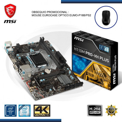 MB MSI H110M PRO- VH PLUS C/VIDEO-SONIDO-RED DDR4, LGA 1151, VGA, HDMI, USB 3.1