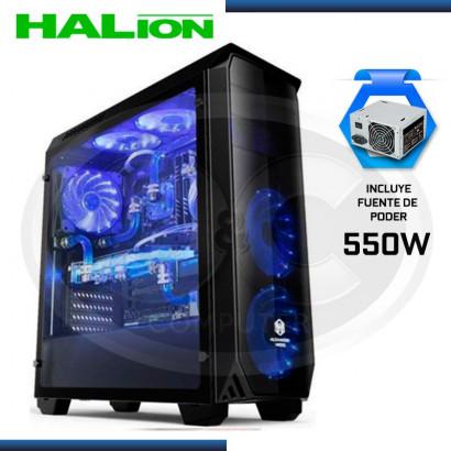CASE GAMER HALION SHADOW AZUL C/ FUENTE 550W REAL, USB 3.0
