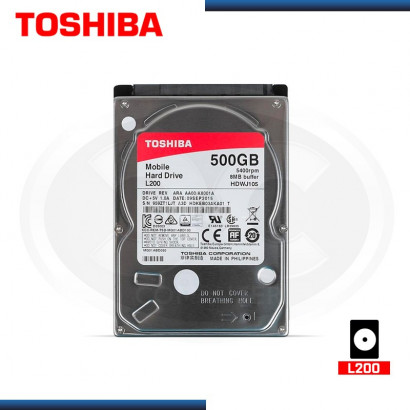 "DISCO DURO 2.5"" TOSHIBA L200 500GB 5400 RPM,  (MOD:HDKEB03AKA01)"