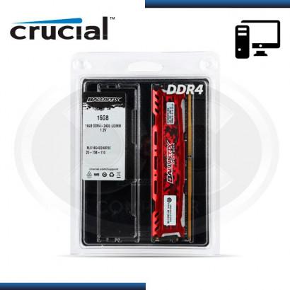 MEMORIA CRUCIAL BALLISTIX SPORT LT RED DDR4 16GB 2400 MHZ /1.2V, C/DISIPADOR (PN:BLS16G4D240FSE)