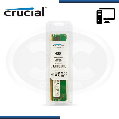MEMORIA CRUCIAL DDR4 4GB BUS 2400 MHZ 1.2V, SIN DISIPADOR (MOD:CT4G4DFS824A)